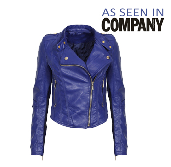 Blue Leather Look Biker Jacket Preview