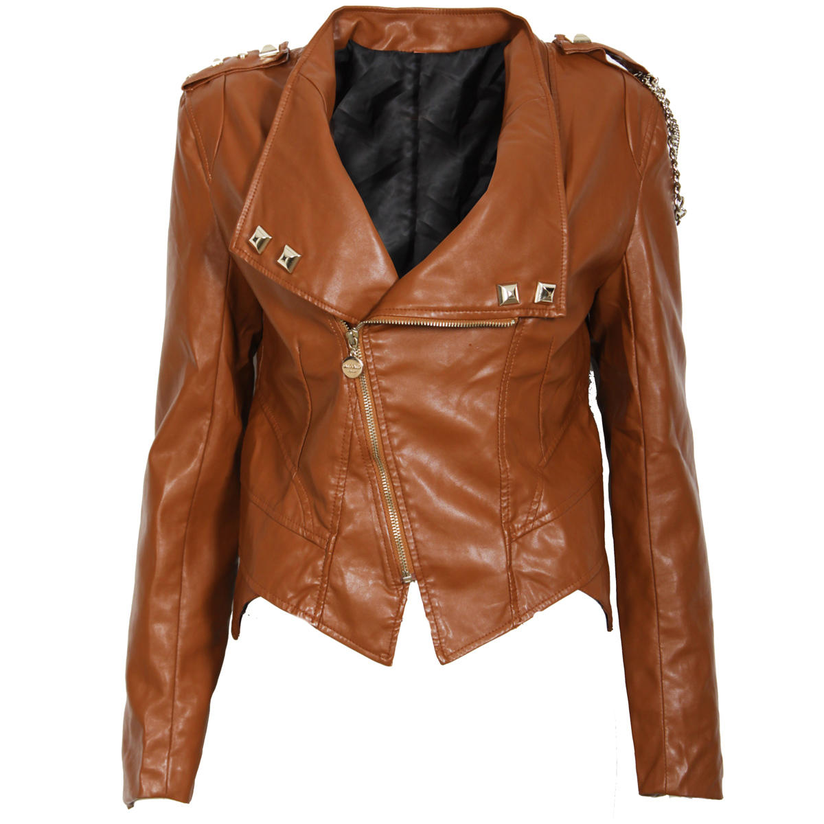 Brown Chain Leather Look Biker Jacket Preview