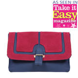 Navy Satchel Bag With Wine Suedette