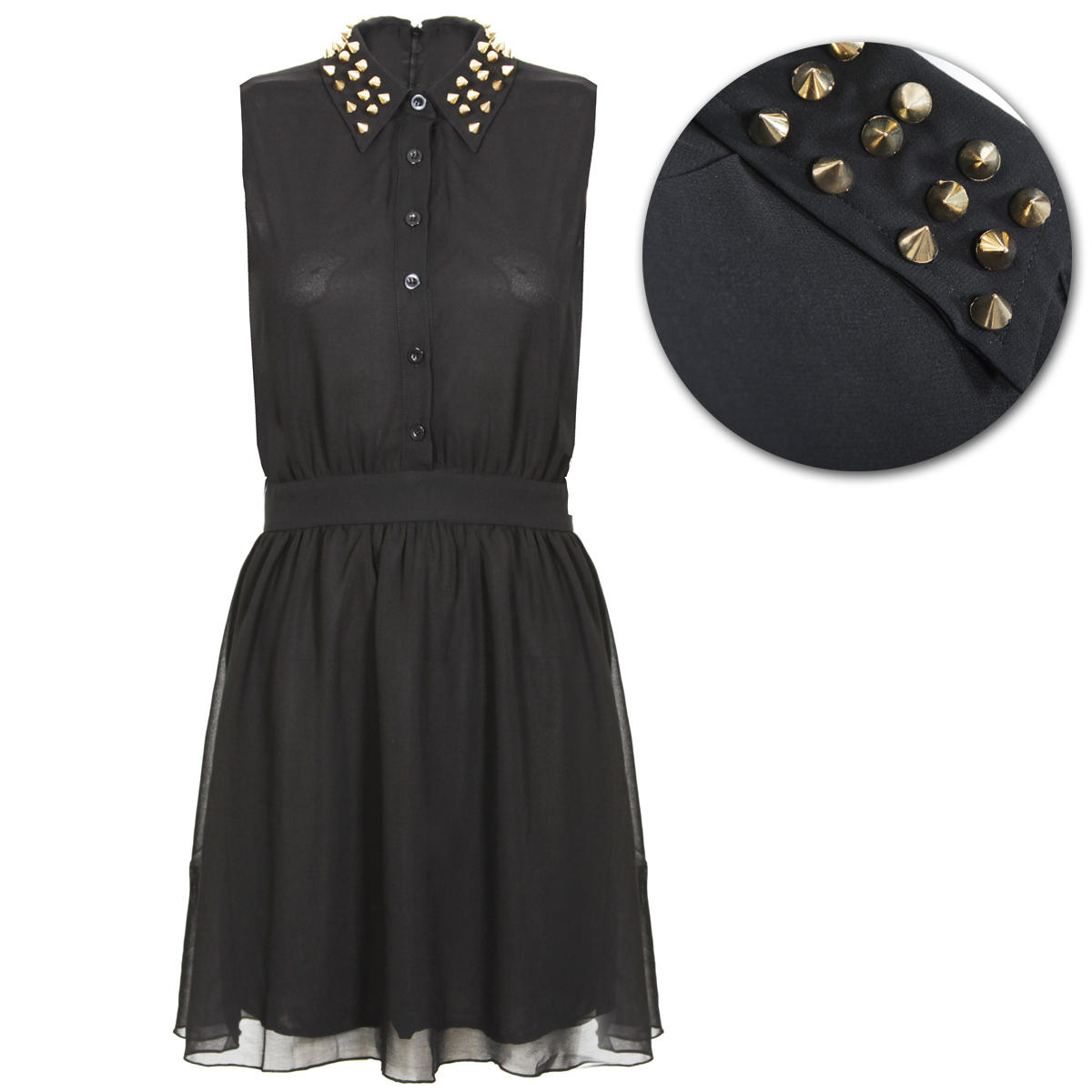 Black Studded Collar Shirt Dress Preview