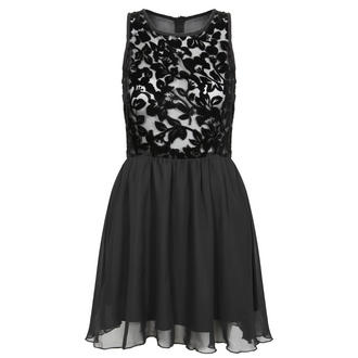 View Item Black Floral Print Mesh Dress
