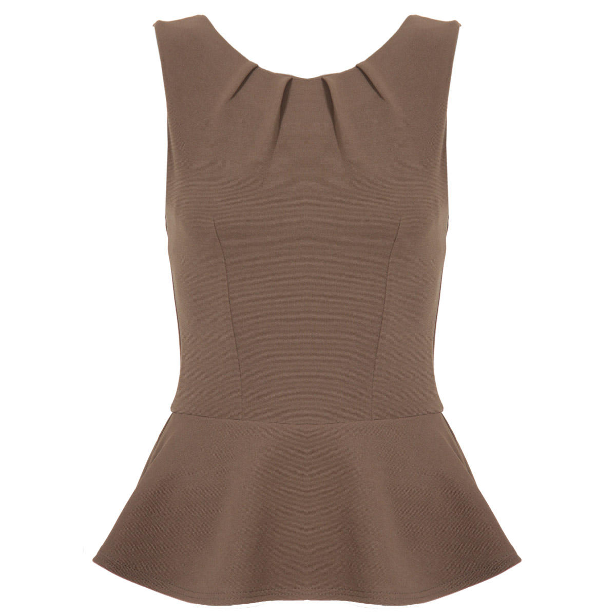Khaki Sleeveless Peplum Top Preview