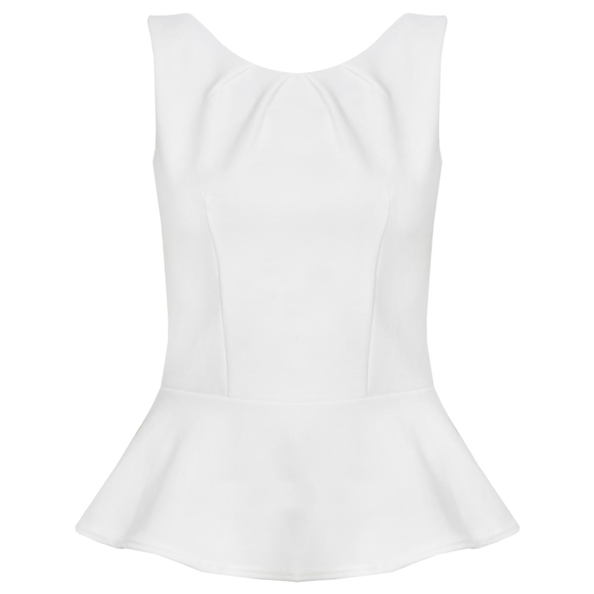 White Sleeveless Peplum Top Preview