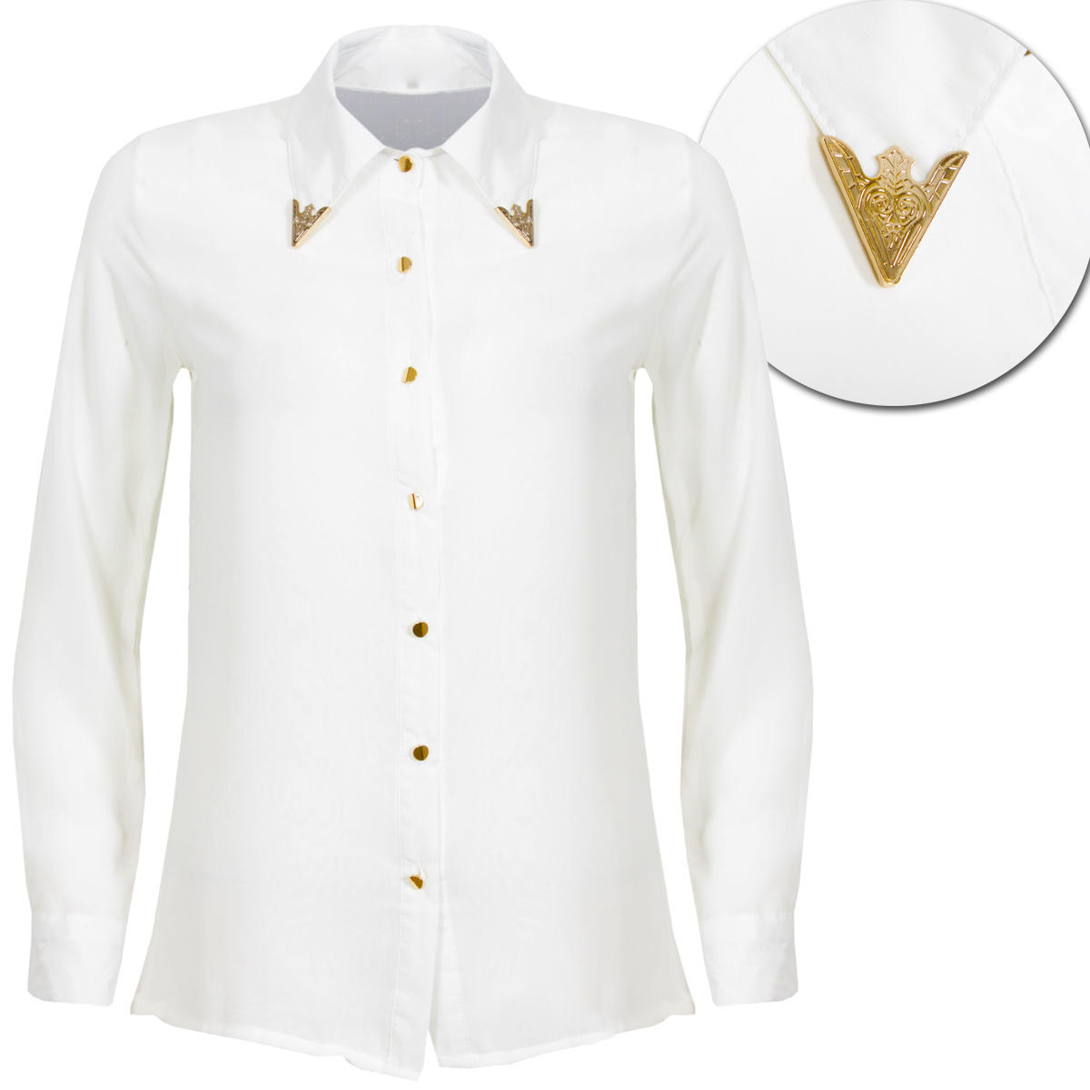 White Metal Collar Tipped Long Sleeve Shirt Preview