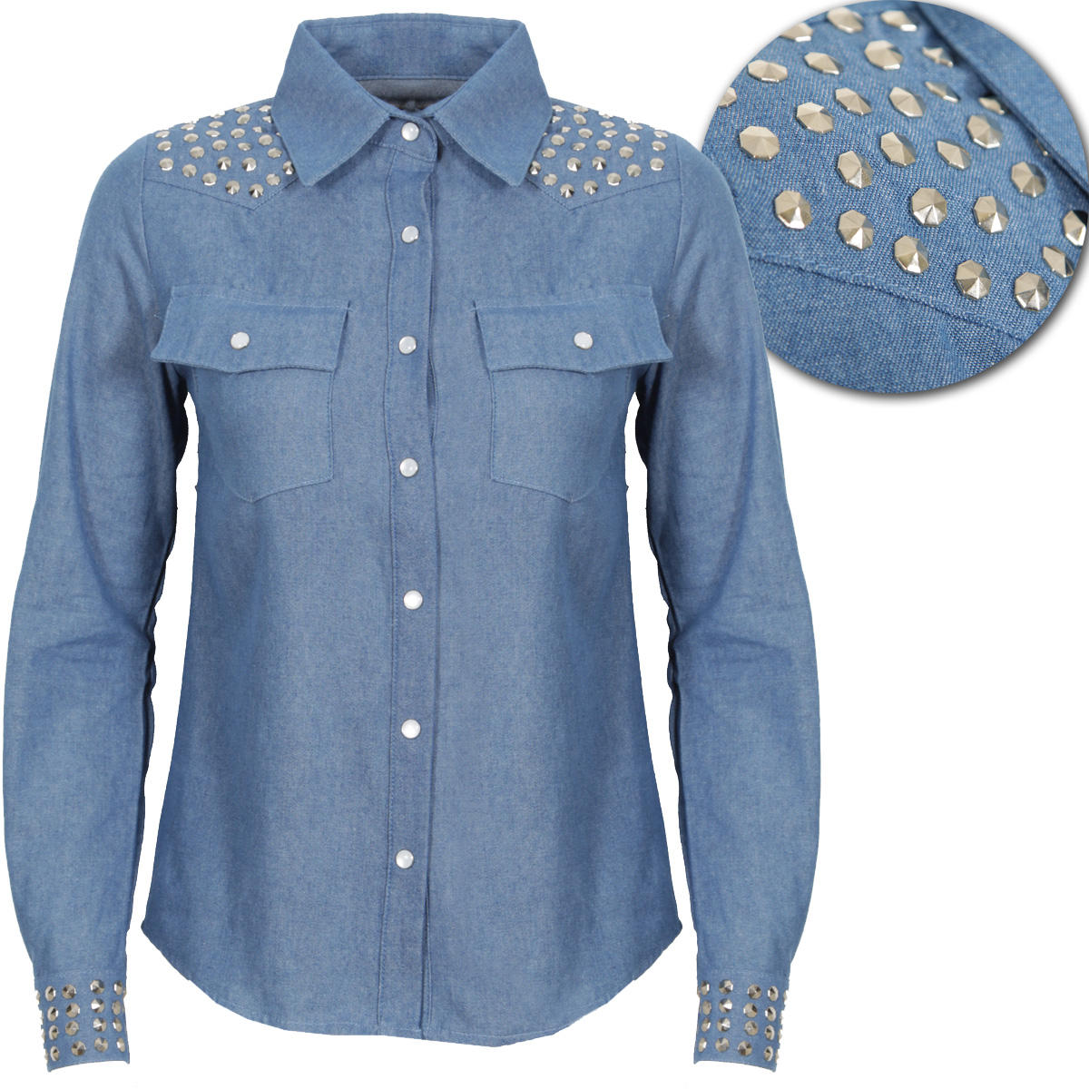 Blue Studded Denim Shirt Preview