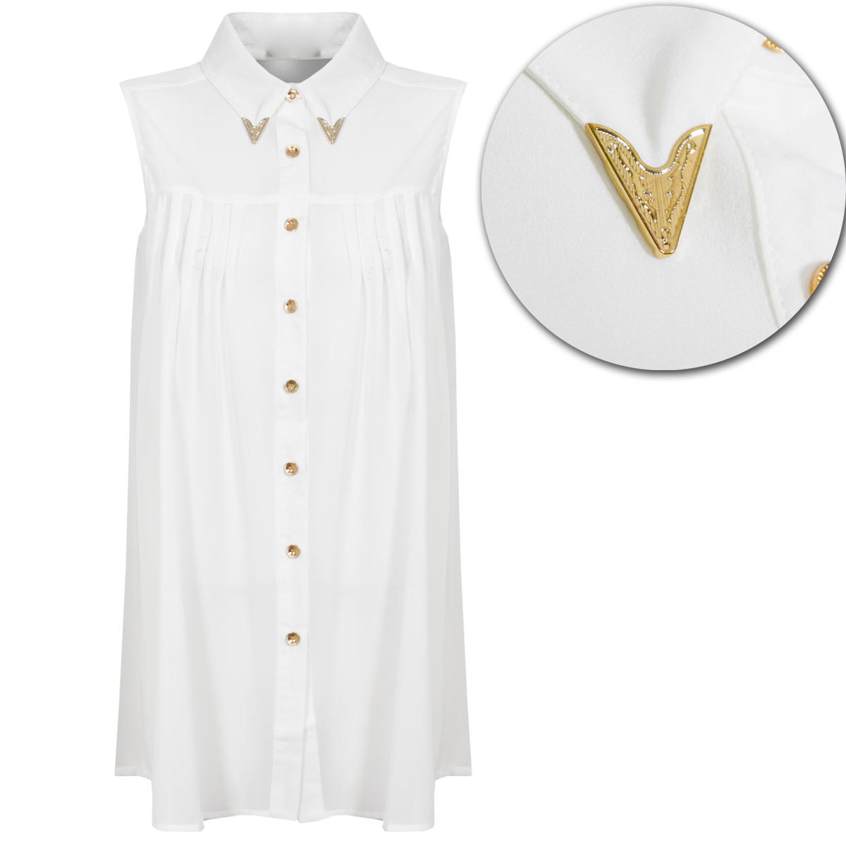 White Metal Collar Tipped Sleeveless Shirt Preview