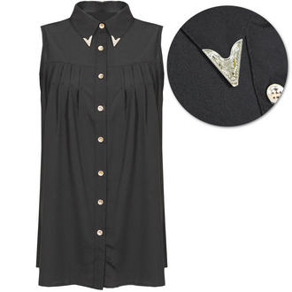 View Item Black Metal Collar Tipped Sleeveless Shirt