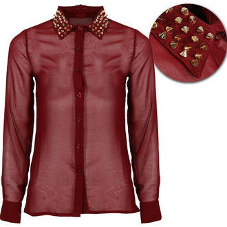View Item Wine Studded Collar Shirt
