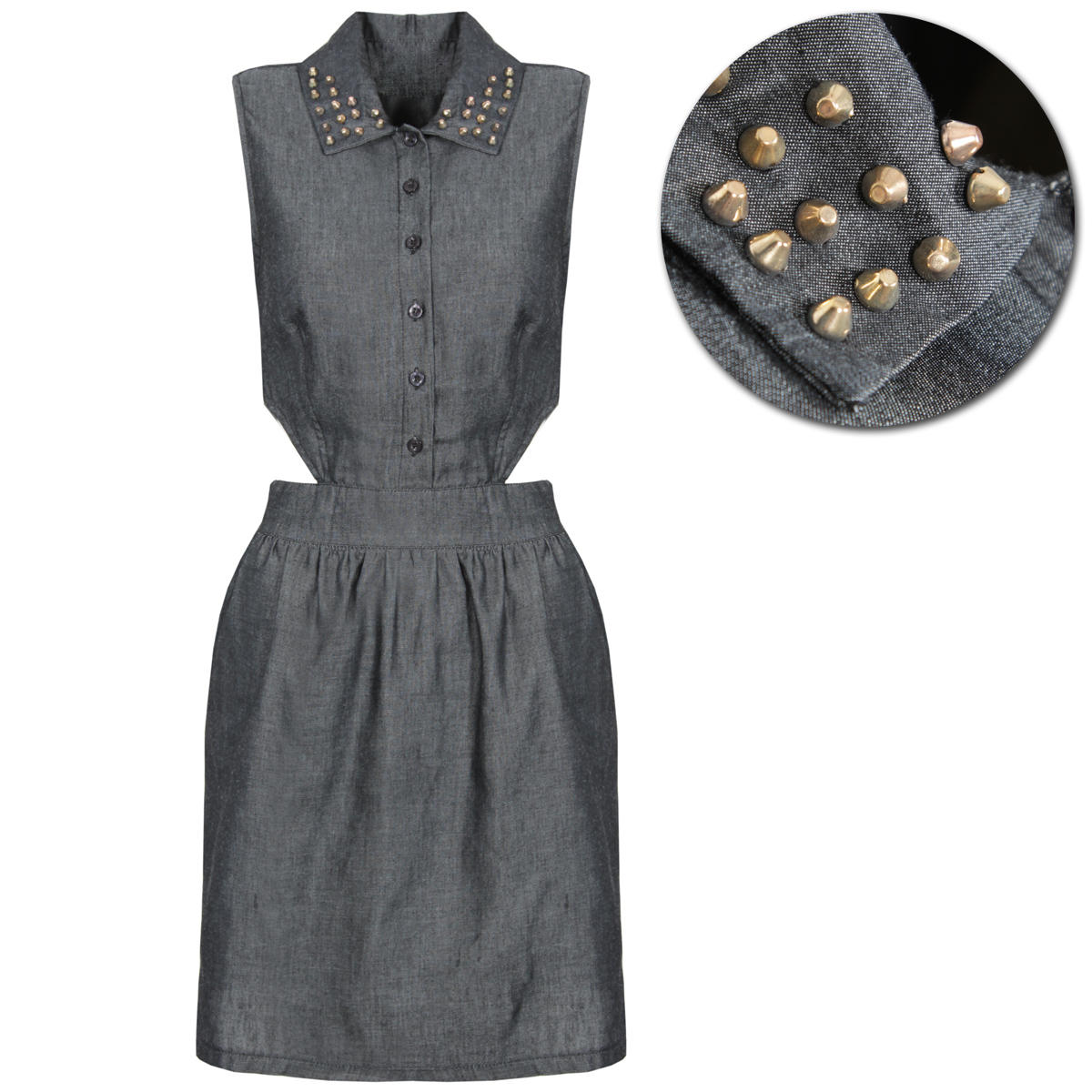 Black Denim Cutout Stud Collar Shirt Dress Preview