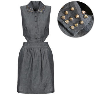 View Item Black Denim Cutout Stud Collar Shirt Dress
