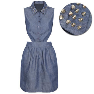 View Item Blue Denim Cutout Stud Collar Shirt Dress