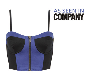 Black and Blue Zip Front Bralet Top Preview