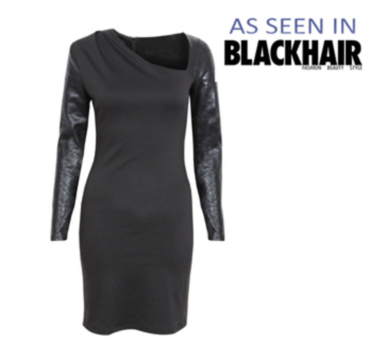 Black Bodycon Dress with Long PU Leather Sleeves Preview