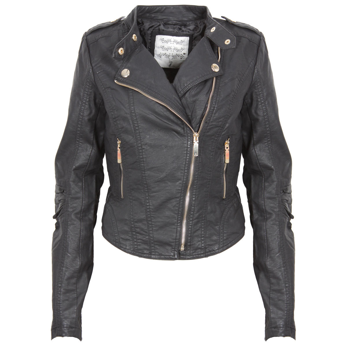 Black Cropped Biker Jacket Preview