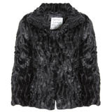 Black 3/4 Sleeve Cropped Faux Fur Jacket