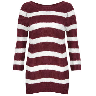 View Item Wine and Cream 3/4 Sleeve Knitted Jumper