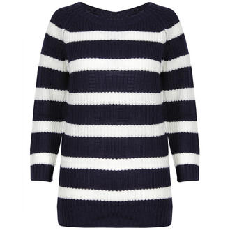 View Item Navy and Cream 3/4 Sleeve Knitted Jumper