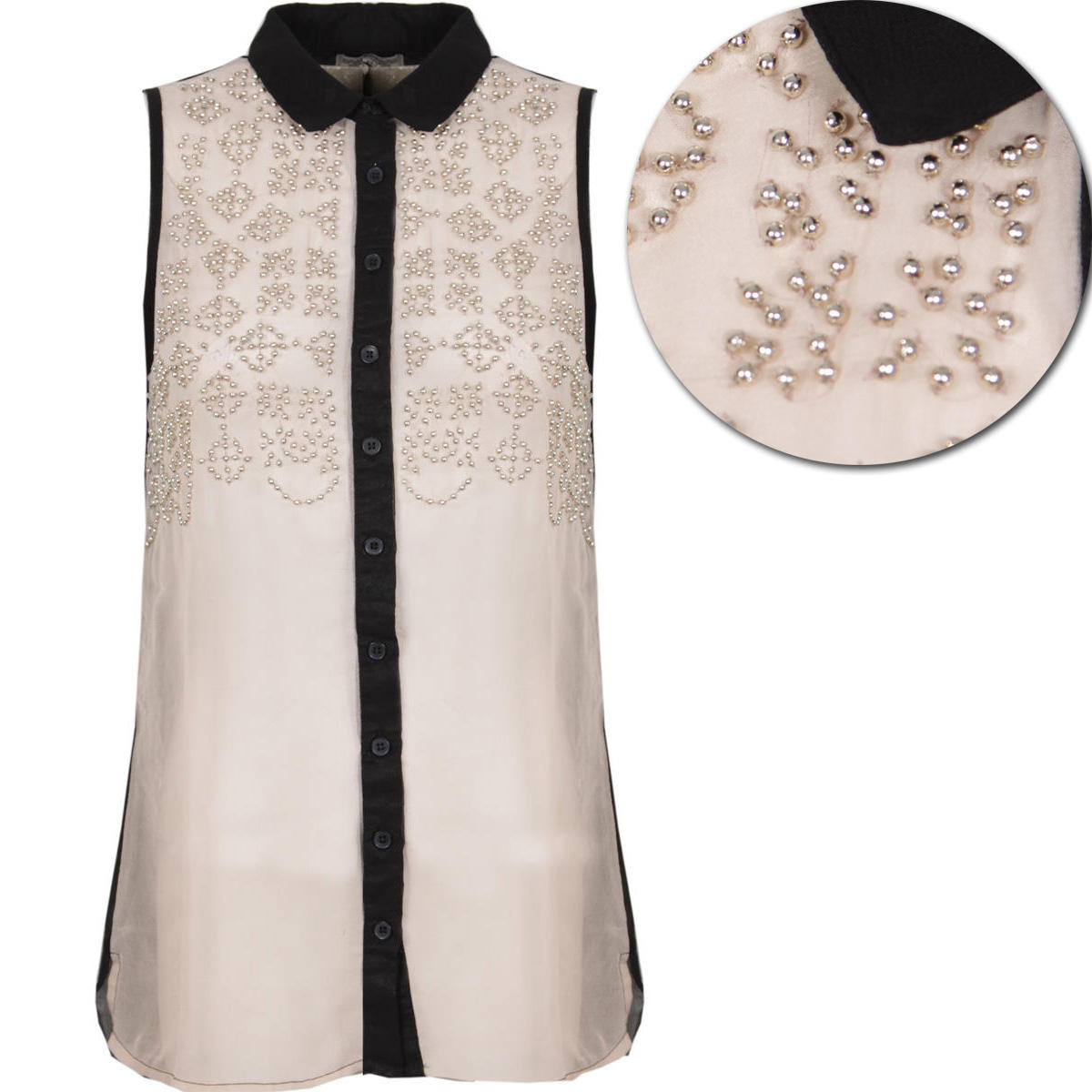 Sheer Embellished Sleeveless Shirt Preview