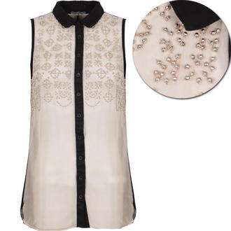 View Item Sheer Embellished Sleeveless Shirt