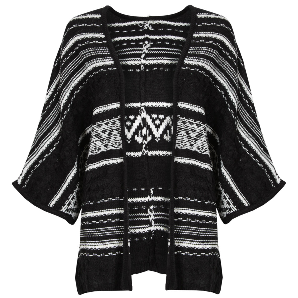 Monochrome Knitted Aztec Cardigan Preview