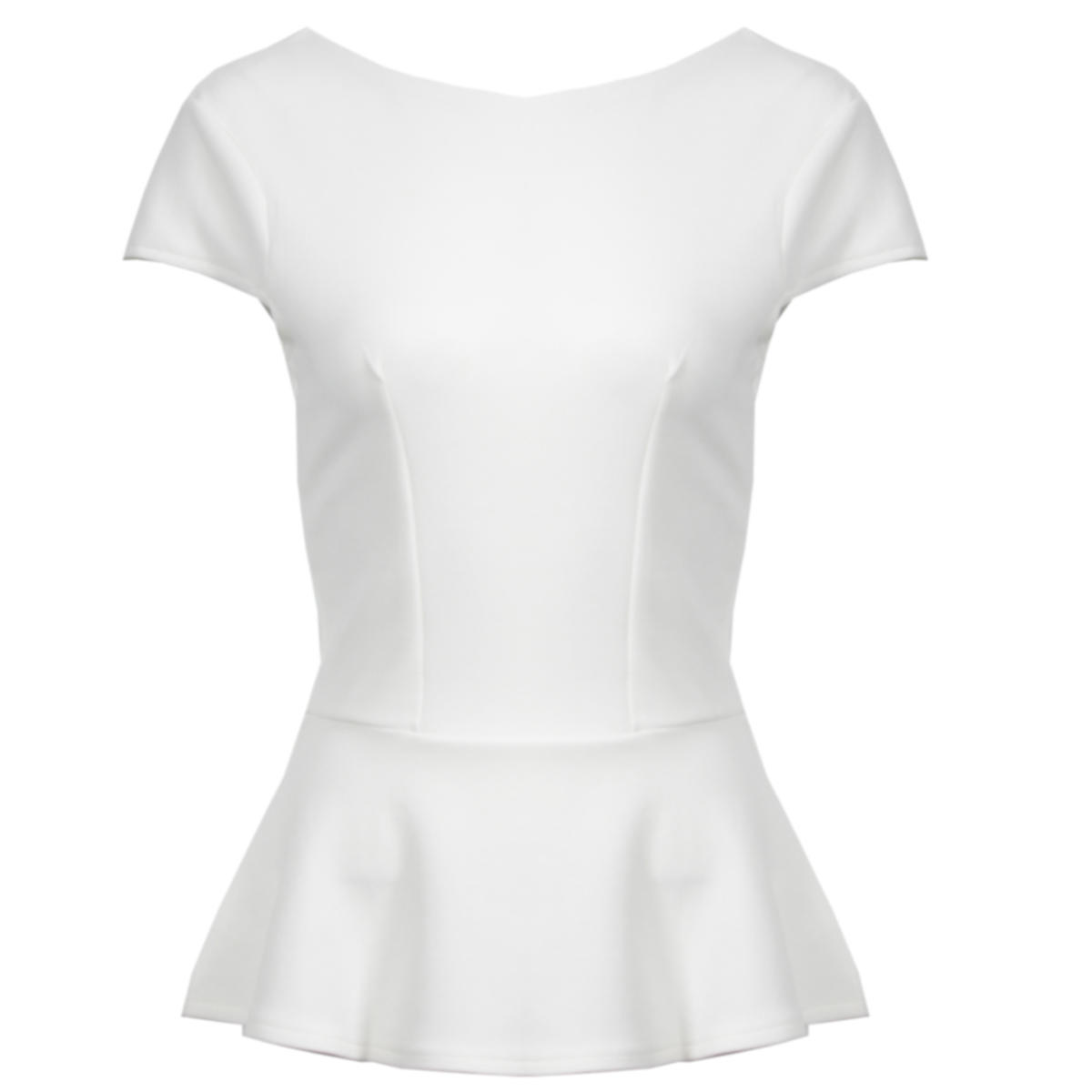 White Short Sleeve Peplum Top Preview