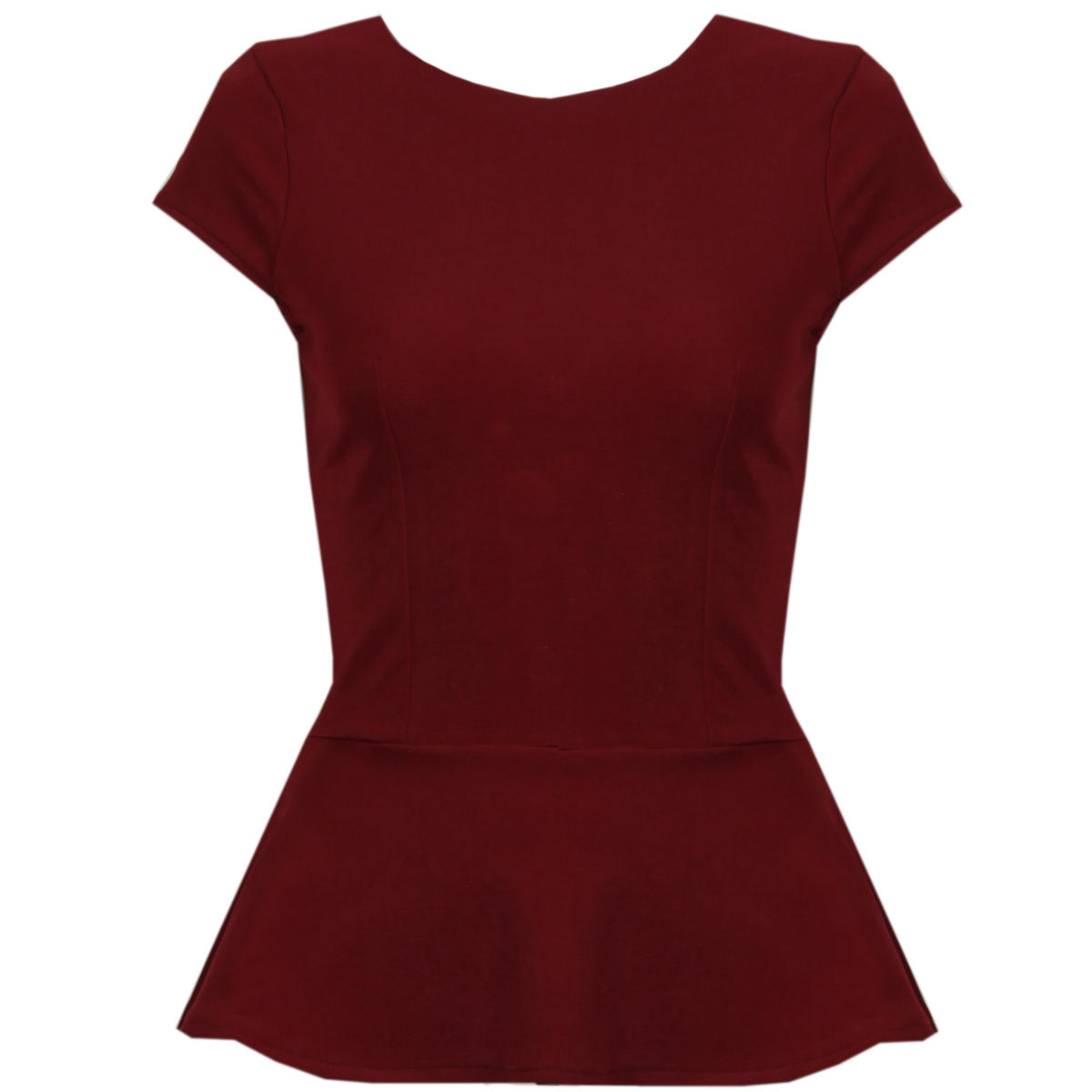 Wine Short Sleeve Peplum Top Preview