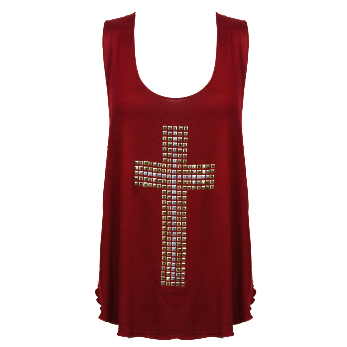 Berry Studded Cross Tank Top Preview