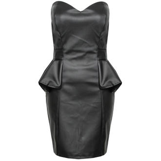 View Item Black PU Leather Bandeau Peplum Dress