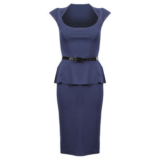 View Item Blue Cap Sleeve Peplum Dress