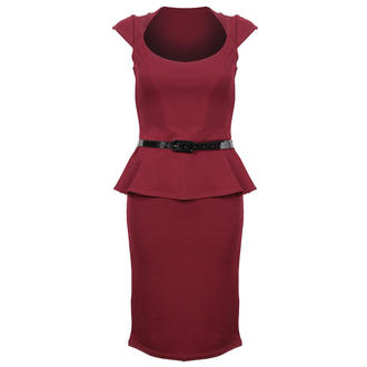 View Item Wine Cap Sleeve Peplum Dress