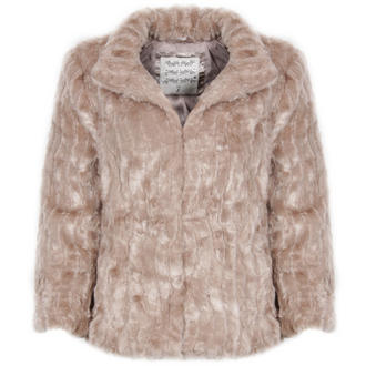 View Item Beige 3/4 Sleeve Cropped Faux Fur Jacket