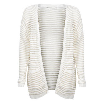 View Item Cream Knitted Cardigan with Gold Stitching