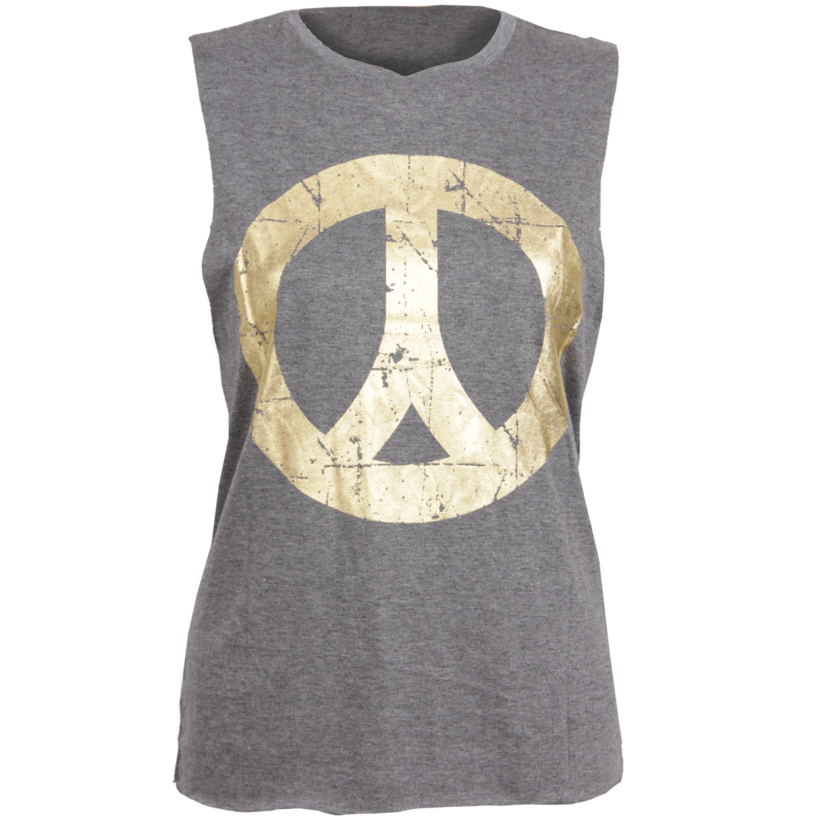 Grey Vest Top with Gold Peace Sign Preview