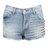 Denim Shorts with Spike Detail