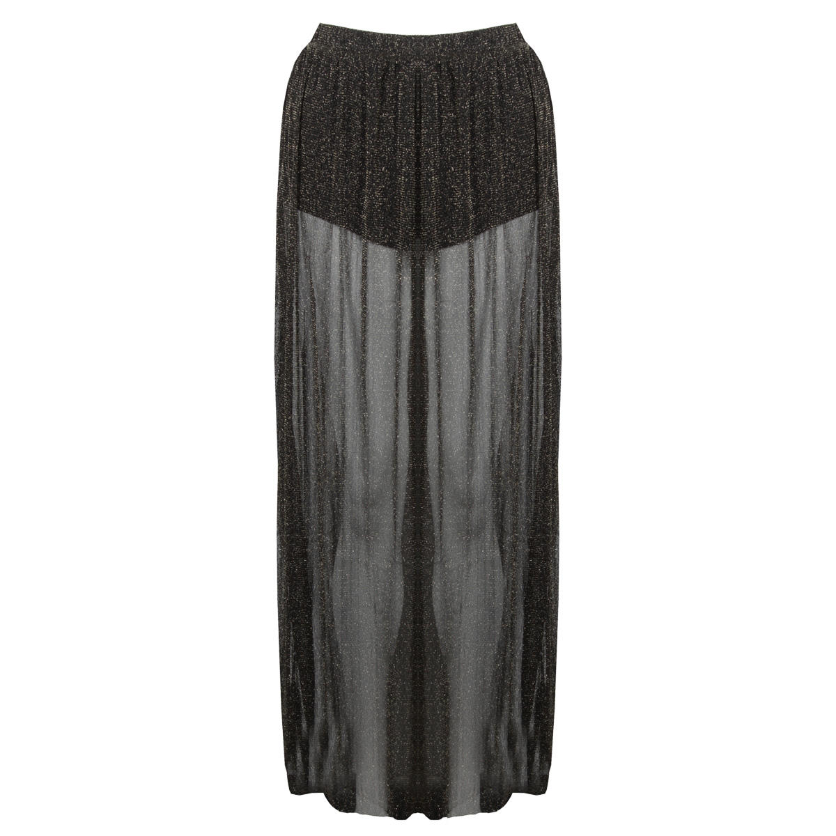 Item Details - Sheer Black and Gold Maxi Skirt
