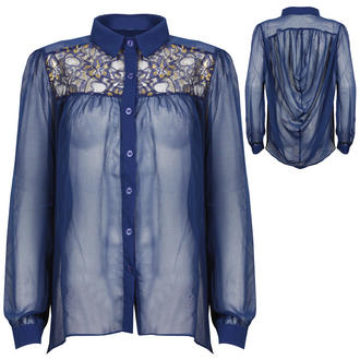 View Item Sheer Blue Blouse With Lace Detail