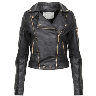 View Item Black Cropped Leather Look Biker Jacket