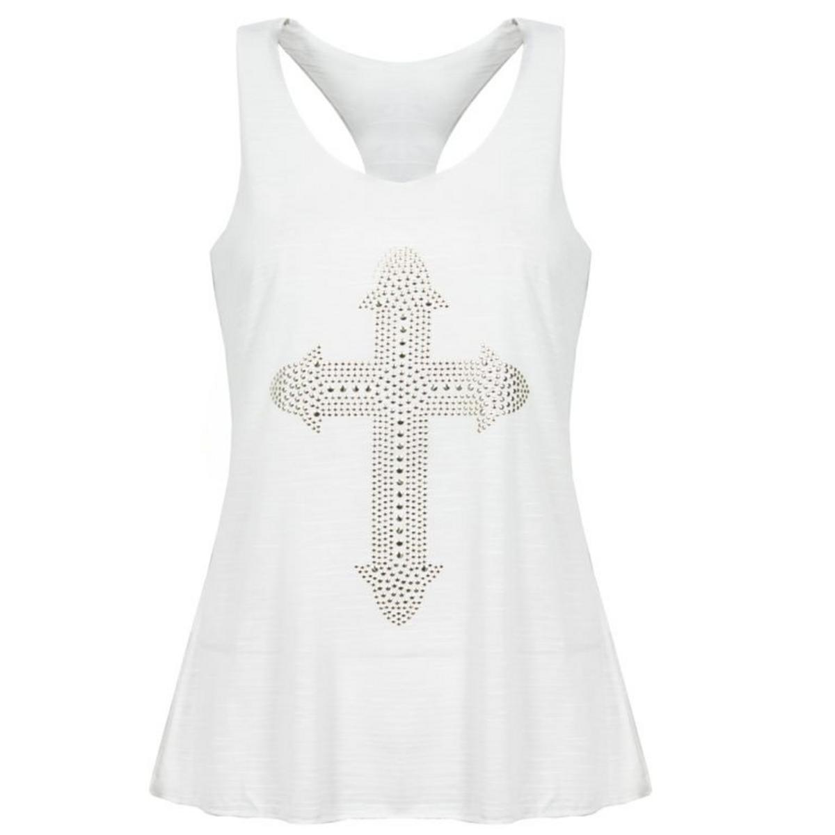 White Studded Cross Tank Top Preview