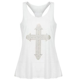 View Item White Studded Cross Tank Top