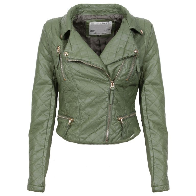 Khaki Quilted Biker Jacket Preview