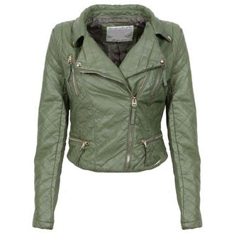 View Item Khaki Quilted Biker Jacket