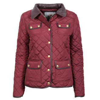 View Item Wine Quilted Coat with Leather Look Collar