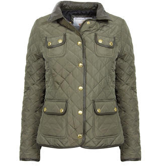 View Item Khaki Quilted Coat with Leather Look Collar