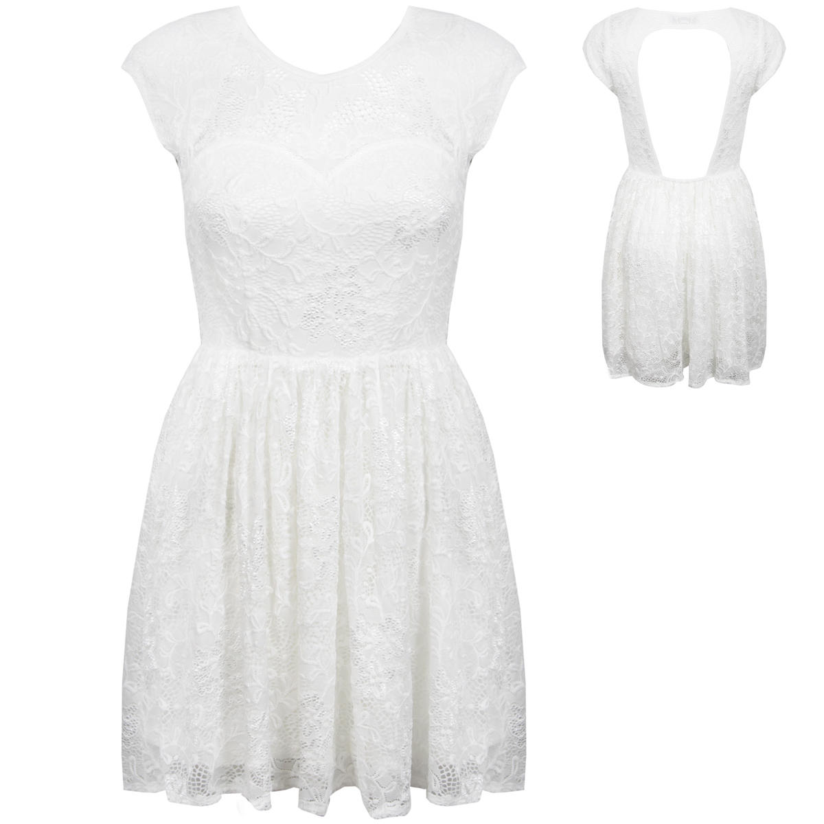 White Floral Lace Dress Preview
