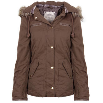 View Item Khaki Parka Coat with Fur Trim Detatchable Hood
