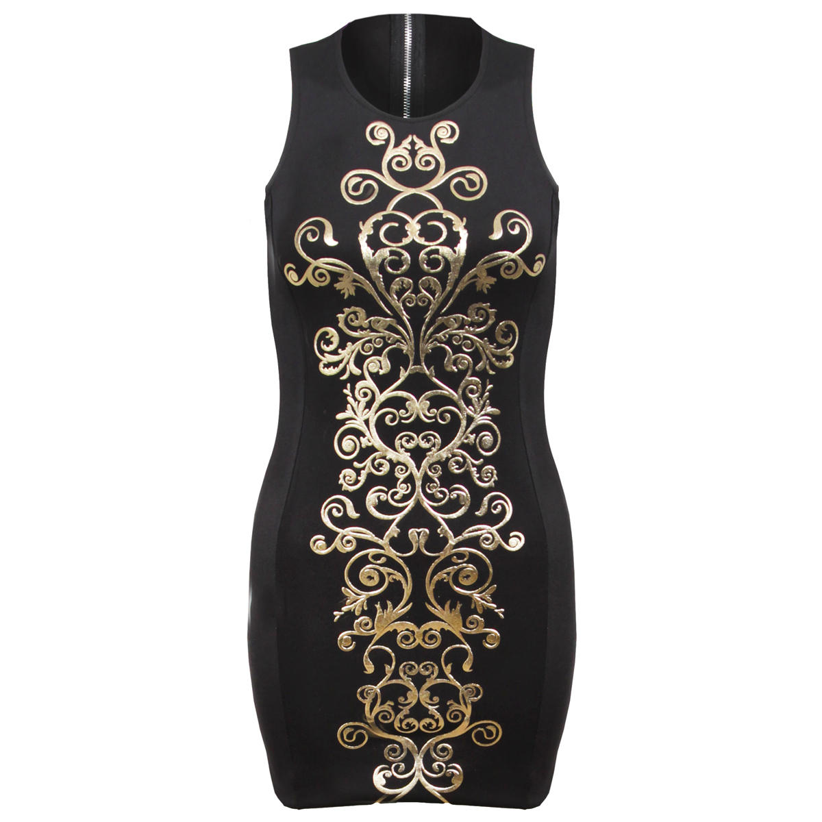Black Bodycon Dress with Gold Baroque Style Detail Preview