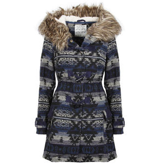 View Item Blue Toggled Aztec Fur Trimmed Coat