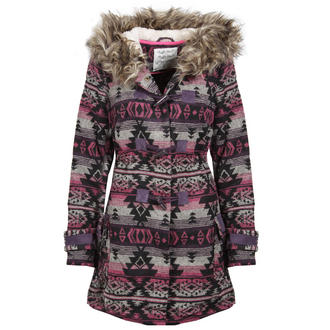 View Item Pink Toggled Aztec Fur Trimmed Coat