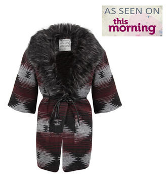 View Item Red and Black Aztec Cardigan Jacket with Removable Fur Collar