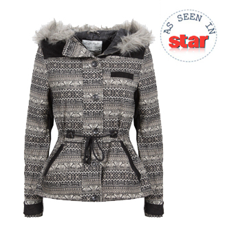 Fairisle Tribal Knit Coat with Fur Trim Hood Preview